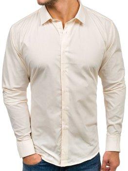 Ecru pánska elegantá košeľa s dlhými rukávmi BOLF TS100