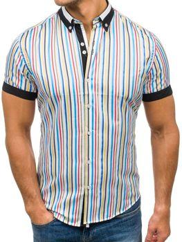 Farebná pánska prúžkovaná košeľa s krátkymi rukávmi BOLF 5204B