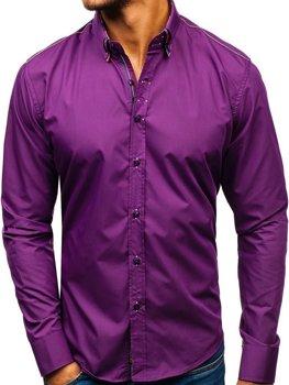 Fialová pánska elegantá košeľa s dlhými rukávmi BOLF 2705