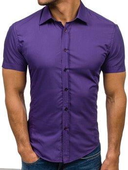 Fialová pánska elegantá košeľa s krátkymi rukávmi BOLF 7501
