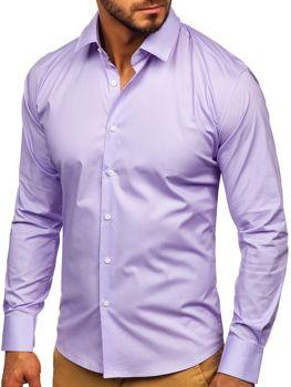 Fialová pánska elegantná košeľa s dlhými rukávmi Bolf TS50