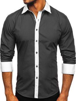 Grafitová pánska elegantná košeľa s dlhými rukávmi BOLF 6882