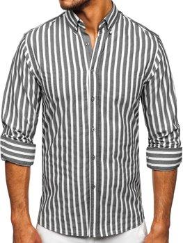 Grafitová pánska pruhovaná košeľa s dlhými rukávmi Bolf 20729