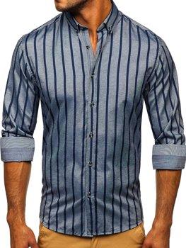 Grafitová pánska prúžkovaná košeľa s dlhými rukávmi Bolf Bolf 20705