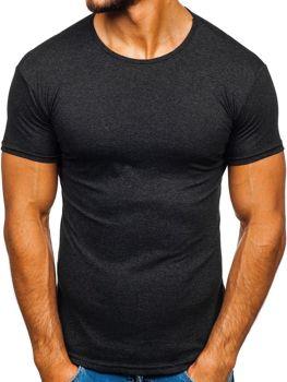 Grafitové pánske tričko bez potlače Bolf 0001