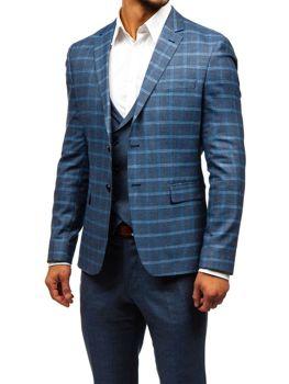 Grafitovo-modrý pánsky oblek s vestou BOLF 18300