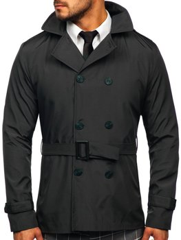 Grafitový pánsky dvojradový kabát typu trenčkot s vysokým golierom a opaskom Bolf 0007