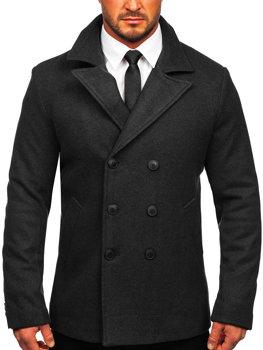 Grafitový pánsky zimný dvojradový kabát s vysokým golierom Bolf 8801