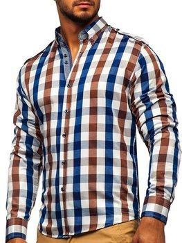 Hnedá pánska károvaná košeľa s dlhými rukávmi Bolf 2779