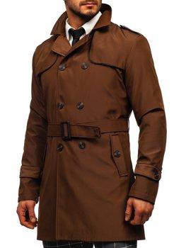 Hnedý pánsky dvojradový kabát typu trenčkot s vysokým golierom a opaskom Bolf 0001