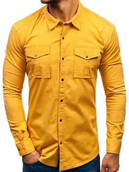 226f3d2fa5d8 Horčicová pánska košeľa s dlhými rukávmi BOLF 2058-1