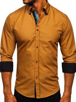 Kamelová pánska elegantá košeľa s dlhými rukávmi BOLF 3708