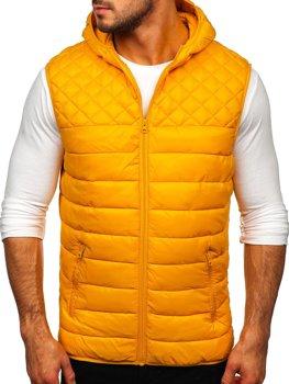 Kamelová pánska prešívaná vesta s kapucňou Bolf HDL88003