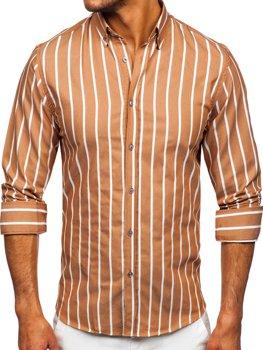 Kamelová pánska pruhovaná košeľa s dlhými rukávmi Bolf 20730