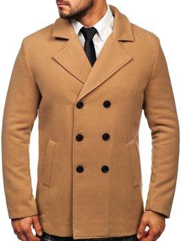 Kamelový pánsky zimný dvojradový kabát s vysokým golierom Bolf 8078