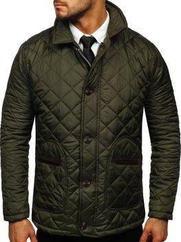 Khaki pánska elegantná prechodná husky bunda Bolf 0003