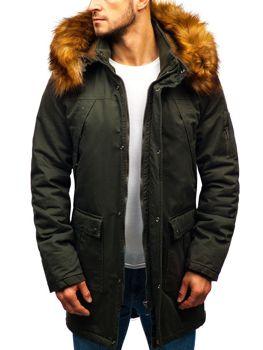 Khaki pánska zimná bunda parka BOLF R106