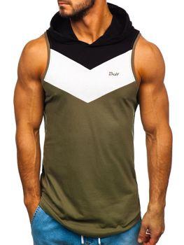 Khaki pánske tričko bez rukávov s kapucňou BOLF 1282