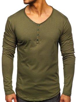 Khaki pánske tričko s dlhými rukávmi bez potlače Bolf 5059