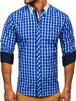 Kobaltová pánska kockovaná košeľa s dlhými rukávmi BOLF 5737