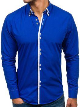 fdace6c65203 Kráľovský modrá pánska elegantá košeľa s dlhými rukávmi BOLF 1721
