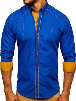 Kráľovský modrá pánska elegantá košeľa s dlhými rukávmi BOLF 4777