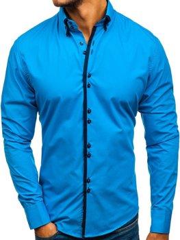 231040b33800 Modrá pánska elegantá košeľa s dlhými rukávmi BOLF 1721-A