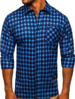 Modrá pánska flanelová košeľa s dlhými rukávmi Bolf F9