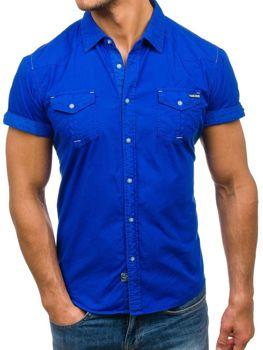 Modrá pánska košeľa s krátkymi rukávmi BOLF 3275