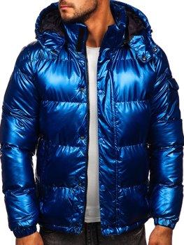 Modrá pánska prešívaná zimná bunda Bolf 1165