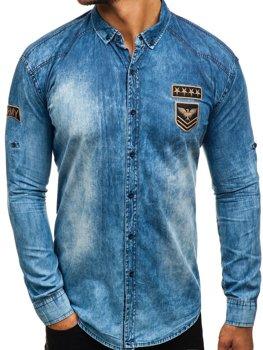 Modrá pánska riflová košeľa s dlhými rukávmi BOLF 0992