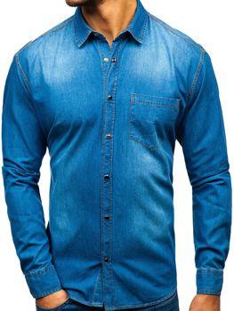 Modrá pánska riflová košeľa s dlhými rukávmi BOLF 1316