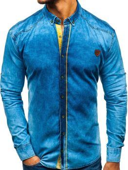 Modrá pánska riflová košeľa s dlhými rukávmi BOLF RL15