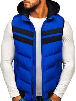 Modrá pánska vesta s kapucňou BOLF 5803