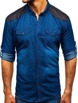 ac0b3daaf5e3 Modrá pánska vzorovaná riflová košeľa s dlhými rukávmi BOLF 0517