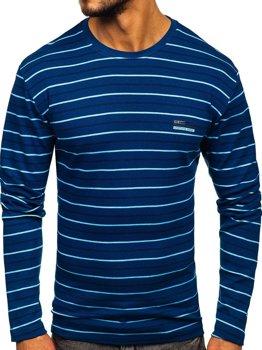 Modré pánske prúžkované tričko s dlhými rukávmi Bolf 1519