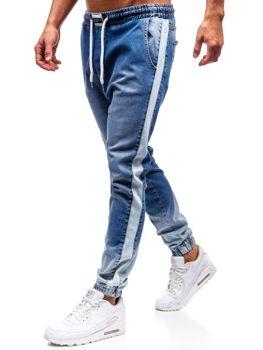32f836e95591 Modré pánske riflové jogger nohavice BOLF 2047