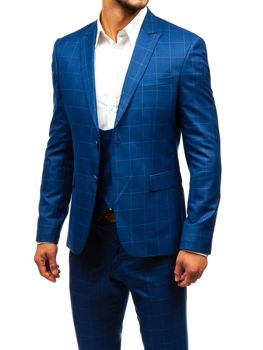 Modrý pánsky károvaný oblek s vestou BOLF 18200