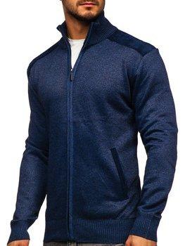Modrý pánsky sveter na zips so stojačikovým golierom Bolf H2057