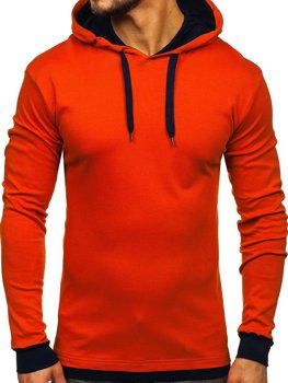 Oranžová pánska mikina s kapucňou Bolf 145380