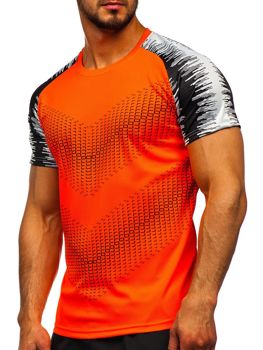 Oranžové pánske tréningové tričko s potlačou Bolf KS2061