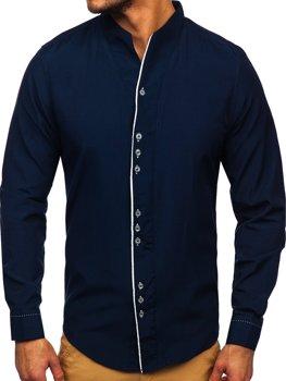 Pánska tmavomodrá košeľa s dlhými rukávmi Bolf 5720
