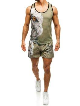 3f2aa7790360 Pánsky plážový komplet plážové tričko + zeleno-tmavomodré kúpacie šortky  BOLF 2117