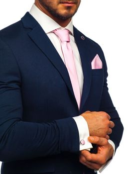 Ružová saka: kravata, manžetové gombíky, kapesník Bolf KSP01