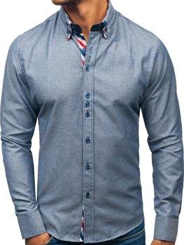 Šedá pánska elegantá košeľa s dlhými rukávmi BOLF 2759