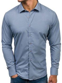 Šedá pánska elegantá košeľa s dlhými rukávmi BOLF TS100