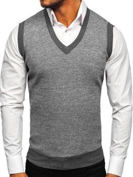 Šedá pánska pletená vesta Bolf 8131