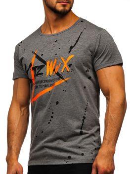 Šedé pánske tričko s potlačou Bolf KS2037