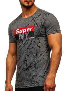 Šedé pánske tričko s potlačou Bolf SS11100