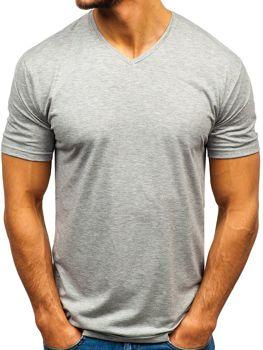 0725e475a0b9 Šedé pánske tričko s výstrihom do V bez potlače BOLF 172010-A